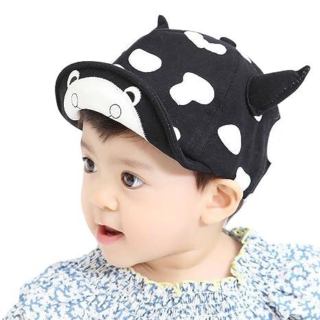 Cotone ragazze dei neonati corno cappelli con visiera cappello da baseball cappello  da sole carino mucche fd09d6760b7e