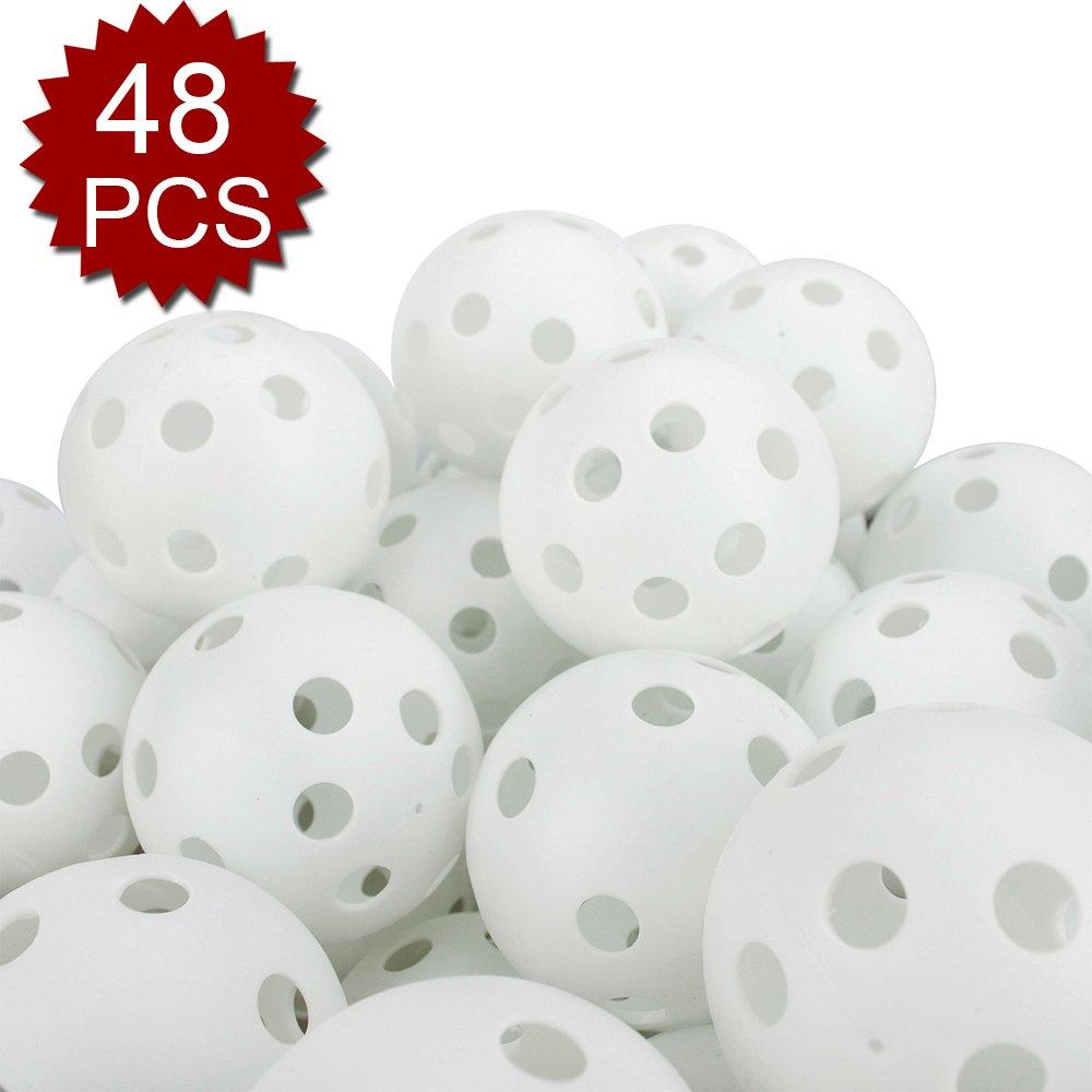 GOGO 48 Pieces Wiffle Practice Golf Balls, 42mm Ball - White by GOGO (Image #1)
