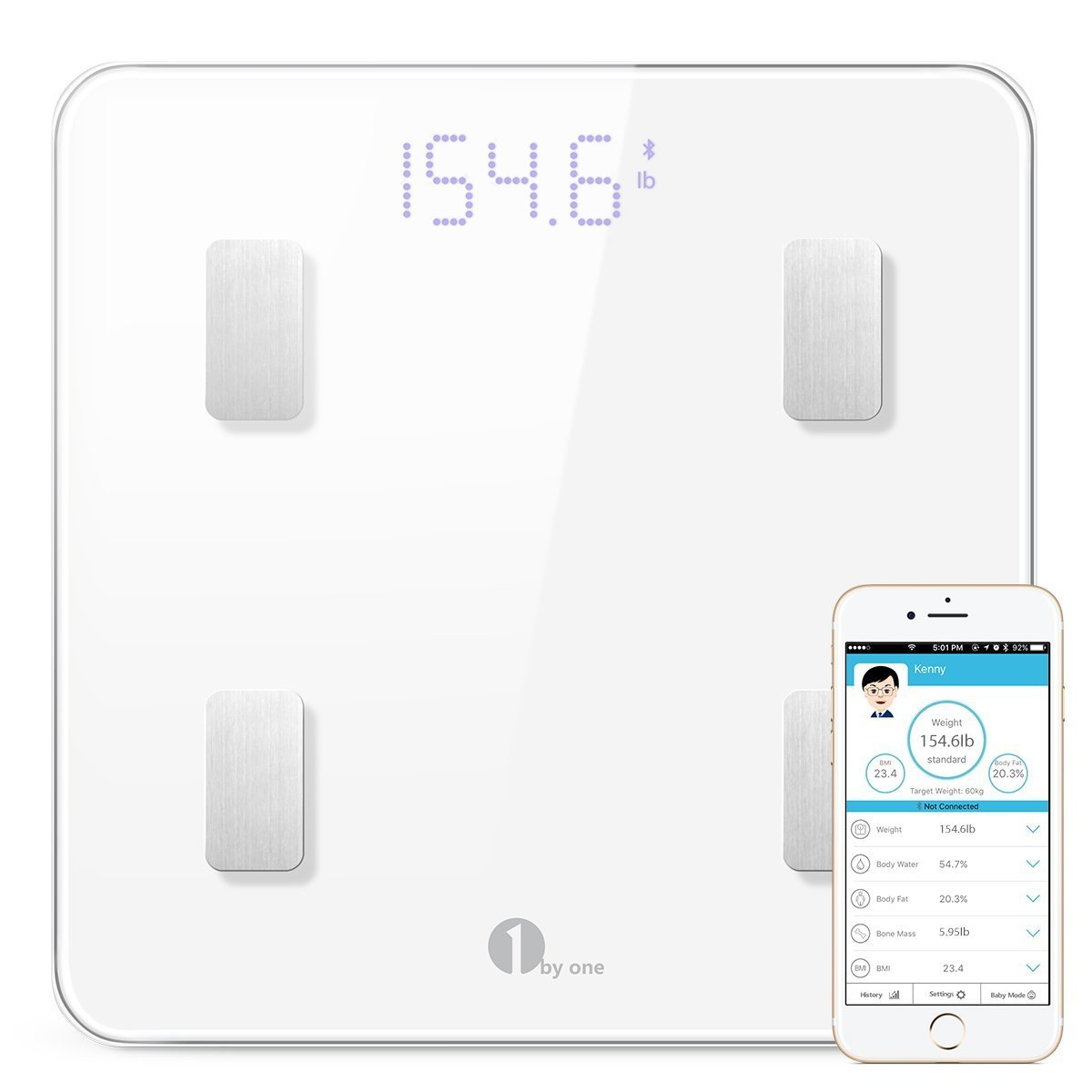 1byone Bluetooth Body Fat Scale with Manage App, Smart Wireless Digital Bathroom Scale for Body Weight, Body Fat, Water, Muscle Mass, BMI, BMR, Bone Mass and Visceral Fat, White