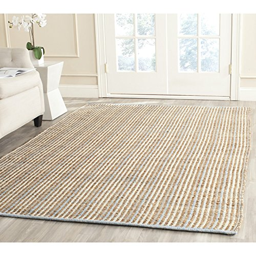 Safavieh Cape Cod Collection CAP831A Hand Woven Natural Jute and Cotton Striped Area Rug (4' x 6')