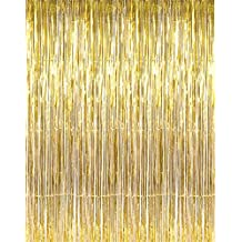 Photo Booth Backdrop Gold Fringe Curtains 3×10ft,Konsait Photo Booth Props Background for Birthday Party and Bachelorette Party Photo Booth Wall Decoration