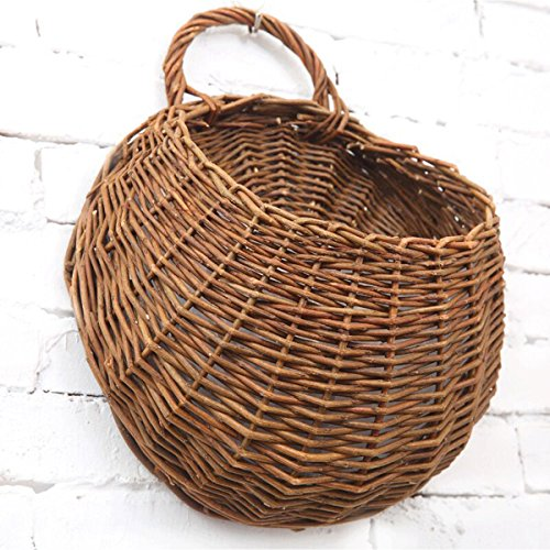 Omont Handmade Woven Hanging Basket Natural Wicker Hanging Storage Basket for Home Garden Wedding Wall Decoration (Hanging Basket Wall)