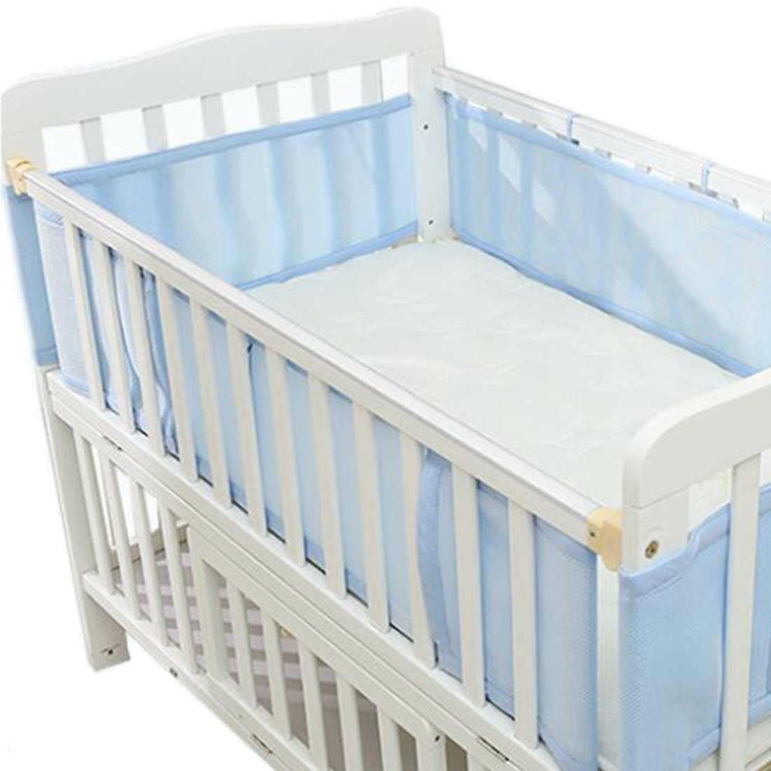 Tosnail Breathable Mesh Crib Liner - Fits 4 Sided Slatted & Solid Back Cribs (Blue)