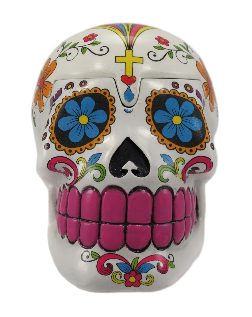Amazon.com: White Sugar Skull Mexican Day of the Dead Trinket Box ...