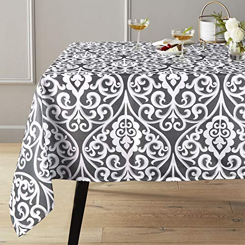 Lahome Damask Floral Pattern Tablecloth – Stain Resistant Polyester Table Cover for Thanksgiving Christmas Kitchen Dining Room Restaurant Party Decoration (Gray, Rectangle – 60″ x 120″)