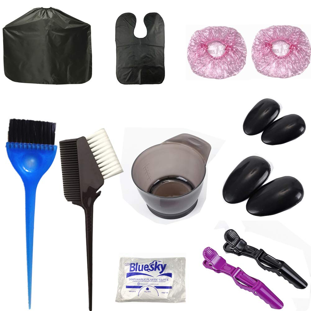 Hair Dye Color Brushes & Bowl Set, Hair Coloring kit Hair Dye Kits Hair Color Brush Mixing Bowl Kit13pcs Tools Hair Color Supplies by SPOVE