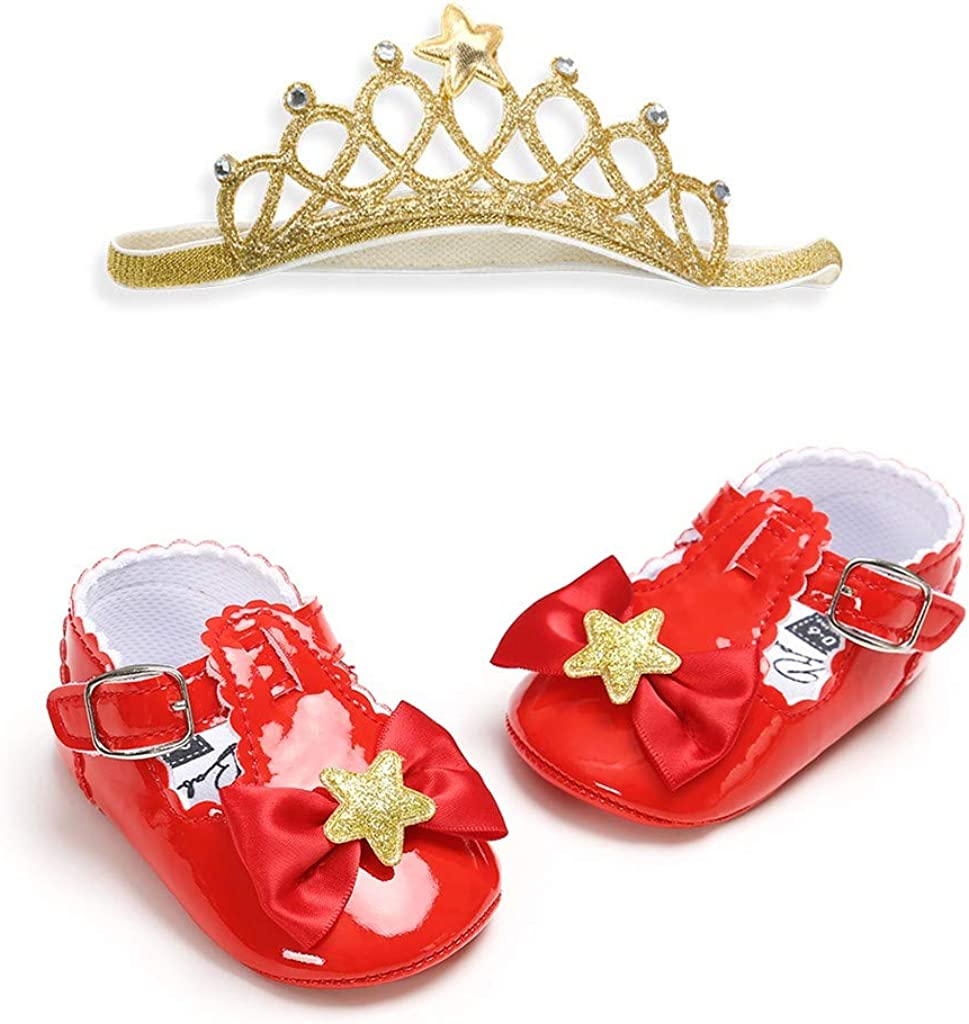 OUBAO Toddler First Walkers Kid Shoes Princess Shoes for Baby Girl Kids Children Flats Sandals Walkers Sneakers Dress Dance Unisex Star Shoes with Crown Hairband Cuty Shoes