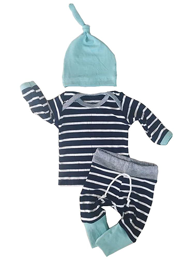 Aliven Newborn Baby Boys Girls Clothes Long Sleeve Tops Pants Trousers Hat Outfits Set