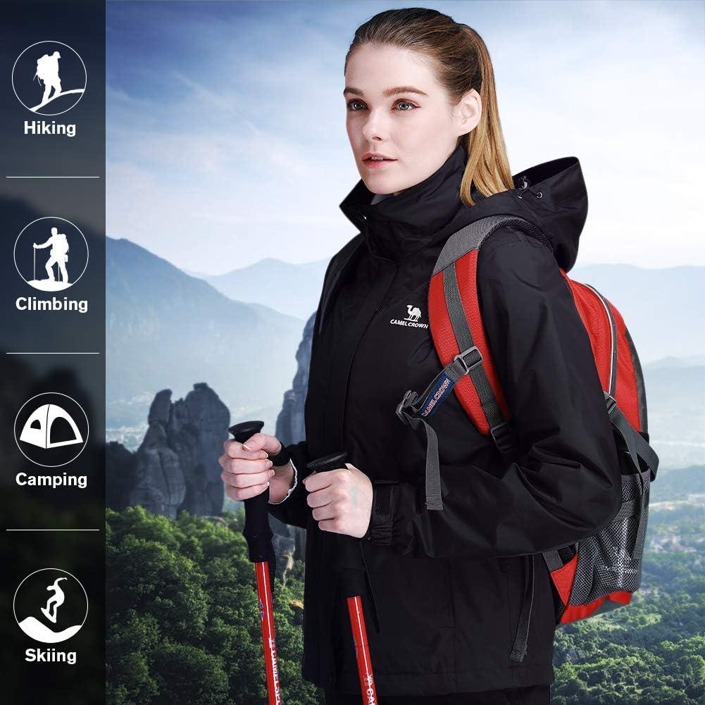 CAMEL CROWN Womens Waterproof Rain Jacket Lightweight Hooded Windbreaker Windproof Rain Coat Shell for Outdoor Hiking Traveling Black XXL