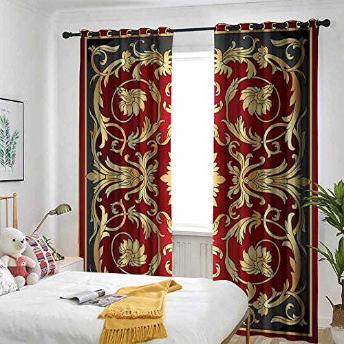 Turkish Filigree - TRTK Curtains Insulation Cable Ring Curtain 2 Panel Cover Turkish Pattern,Ottoman Spiral Foliage Pattern Frame Filigree Style Royal and Retro,Ruby Mustard Black