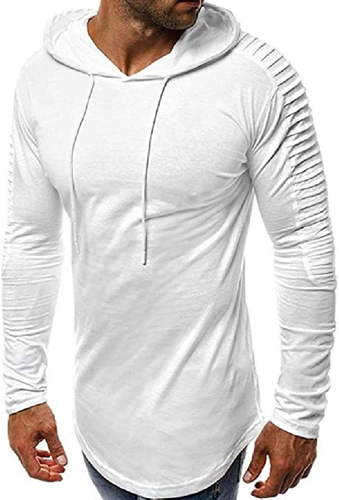 Wofupowga Mens Drawstring Pleated Solid Curved Hem Lightly Top Pullover Hooded Sweatshirts