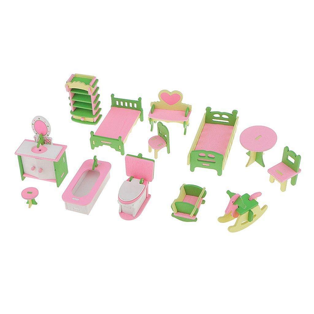 TOOGOO 13 pcs Maison de poupee Meubles miniatures Vintage Salle de bain chambre d'enfant en bois