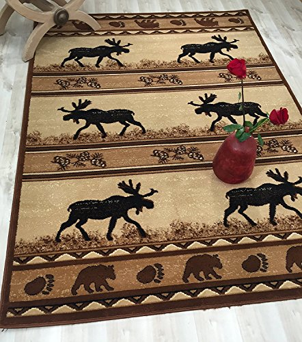 HR'S RUG FOR CABIN AND LODGE, BEARS AND MOOSE Moose Trail Lodge