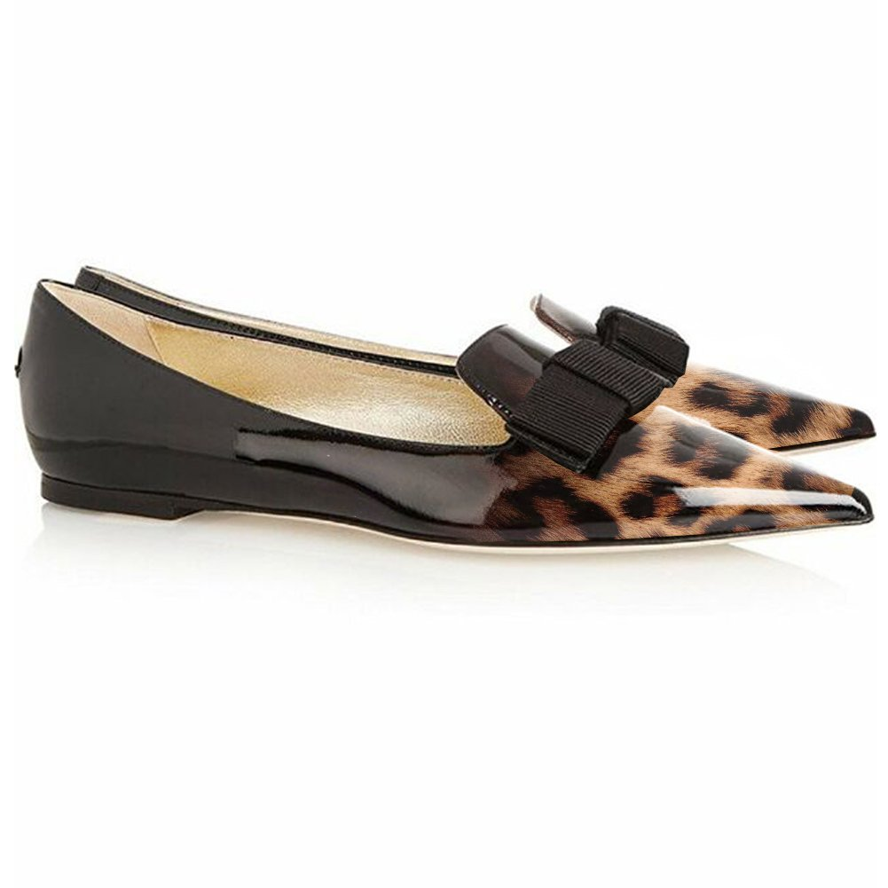 Eldof Women's Flats, Pointed Toe Flats Pumps, Patent Leather Flats Pumps, Walking Dress Office Classic Comfortable Flats B07DL2NSSR 6 B(M) US|Leopard-black