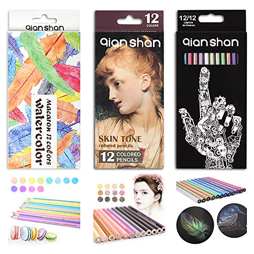 36 Count Colored Pencils Set - Professional Artist Colored Pencil Kit with 12 Metallic, 12 Macaron Color, 12 Skin Tones Pre-sharpened Colored Pencils for Adults Coloring Books Drawing Sketching -