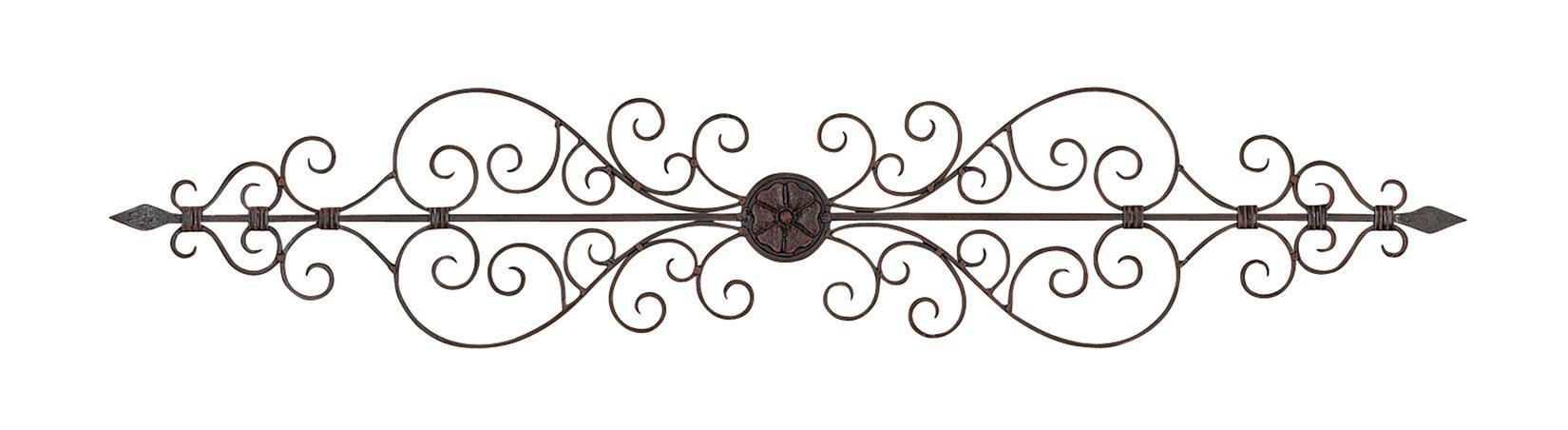 Deco 79 Rustic Floral and Scrolled Metal Wall Decor, 8'' H x 44'' L, Textured Bronze Finish by Deco 79