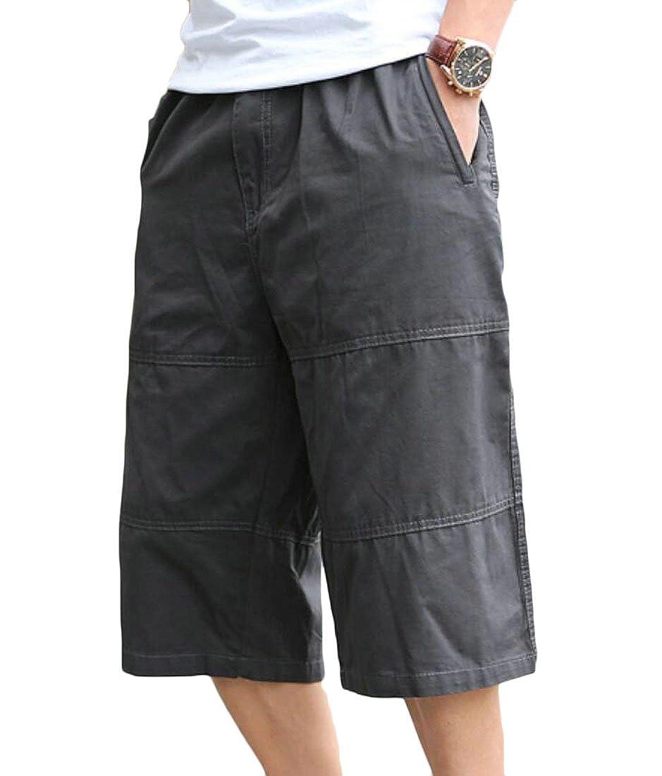 Domple Mens Summer Plus Size Straight Leg Outdoor Elastic Waist Capri Pants