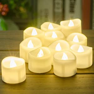 Battery Tea Lights with Timer, PChero 12pcs Electric LED Timed Candles Flickering Flameless for Fall Decor Christmas Thanksgiving Wedding Party Home Decorations