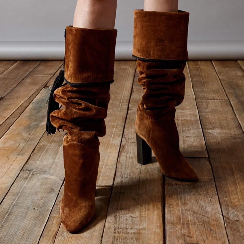 HNStiefel Damen Oberschenkel Hoch Stiefel Stiefel Stiefel Overknee Strecken Samt Quaste Block Absatz Braun Abend Party Arbeit Herbst Schuhe c83602