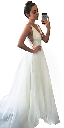Wedding Dress Simple Deep V-Neck Long Satin Court Train Silk A-Line ...