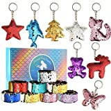 FEPITO 16 Pcs Magic 2-Color Reversible Mermaid Sequins Slap Bracelets and Glitter Sequins Mermaid Key Chains for Kids Birthday Party Favors Supplies(Random Style)
