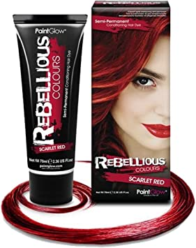 Paintglow - Rebellious Colours - Tinte de Pelo Semi-Permanente 70 ml (Scarlet Red) - 1 unidad