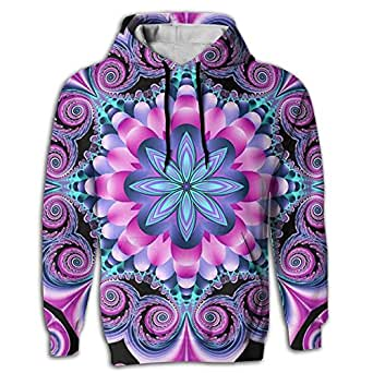 Men's Hoodie Fashion Pullover Digital Print Mandala Flower colorful Young and Reckless