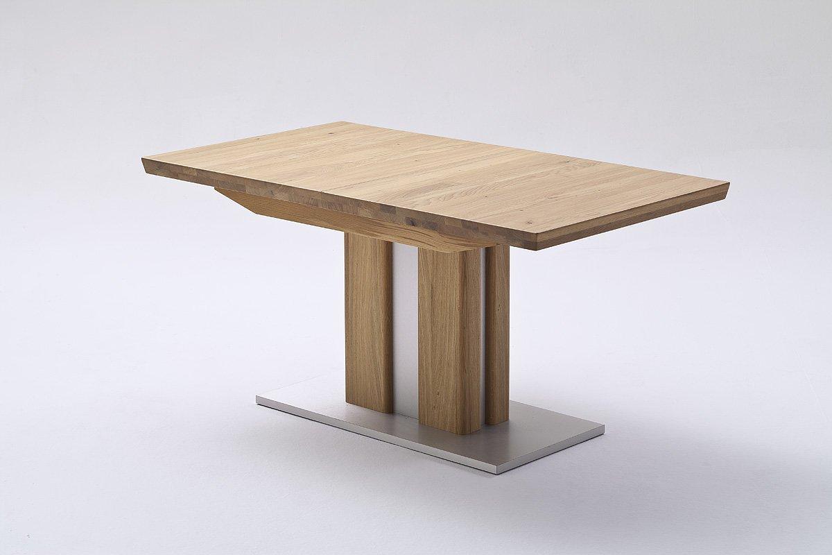 Esstisch, Massivholztisch, Säulentisch, Eiche Massiv, ausziehbar, L= 160-210