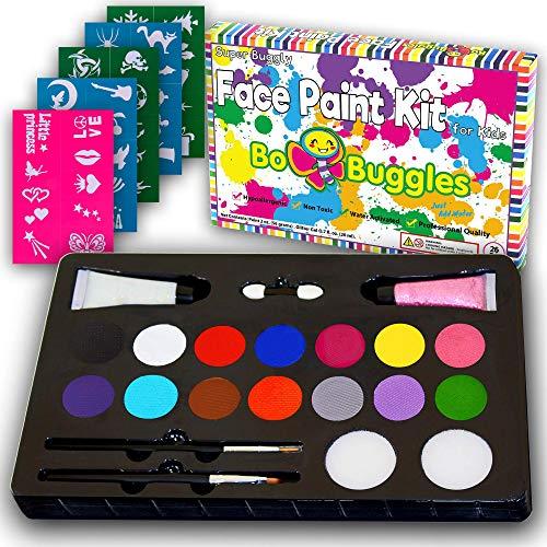 Bo Buggles Kids Face Paint Kit + 50 Stencils.