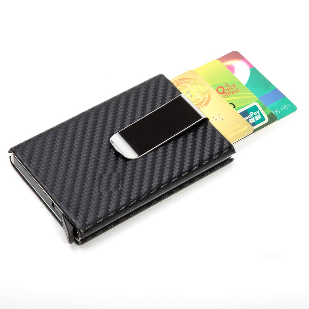 Minimalist Carbon Fibre Slim Wallet,FAYEAH RFID Blocking Credit Card Holder Automatic Pop-Up Wallet with Money Clip Excellent Design for Men and Women. (Elegant Black)