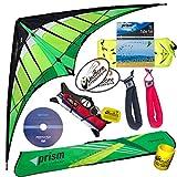Prism Hypnotist Stunt Kite Mega Tube Tail Strap Bundle (4 Items) + Prism 75ft Tube Tail + Peter Lynn HD Padded Strap Handles Pair + WindBone Kiteboarding Lifestyle Stickers + Key Fob (Citrus)