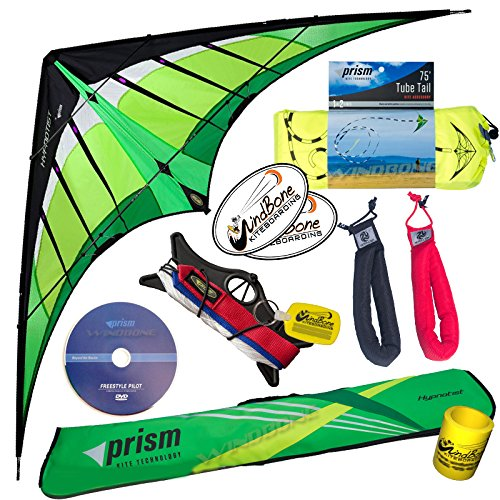 Prism Hypnotist Stunt Kite Mega Tube Tail Strap Bundle (4 Items) + Prism 75ft Tube Tail + Peter Lynn HD Padded Strap Handles Pair + WindBone Kiteboarding Lifestyle Stickers + Key Fob (Citrus) by Prism, Peter Lynn, WindBone (Image #2)