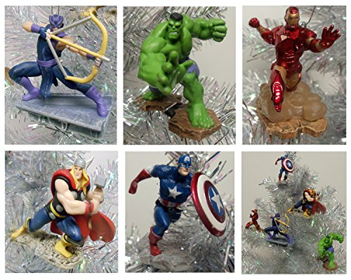Avengers Super Hero Set of 5 Holiday Christmas Tree Ornaments Featuring Incredible Hulk, Iron Man, Thor, Captain America, Hawkeye - These Shatterproof Plastic Ornaments Range from 4