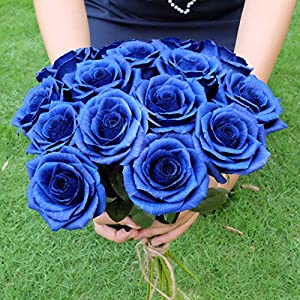 Royal Navy Blue Paper Rose Unique Anniversary Gift For Her Handmade Crepe Paper Flowers for Valentine Birthday Mother Day, Single Long Stem Real Looking, 01 Flower 8