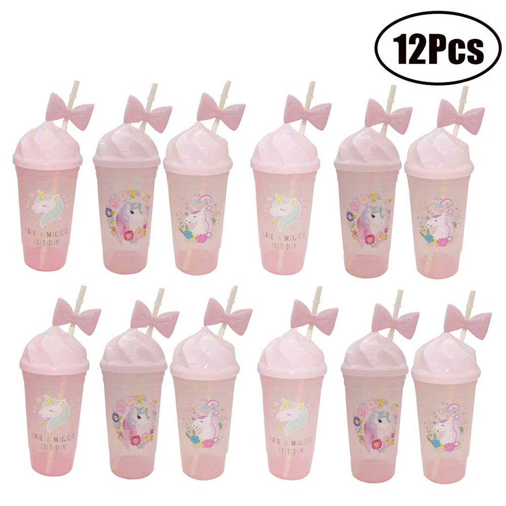 FEOOWV Unicorn Cups with Lids and Bowknot Straws, Plastic Cup for Iced Water Juice Milk Tea,Pack of 12pcs (Pink) by FEOOWV