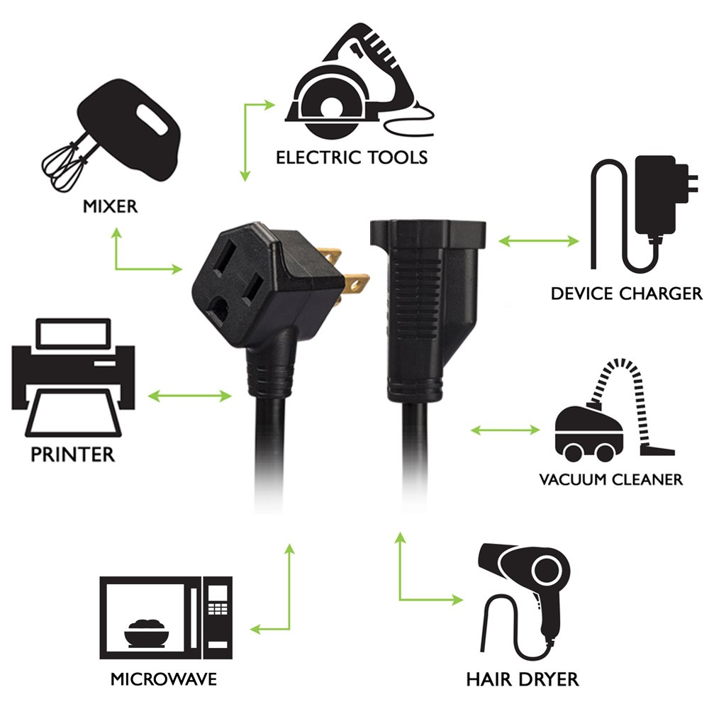 KMC 1-Foot (10-Pack) Power Extension Cord, 3 Prong Appliance Extension Cable Cord-Black
