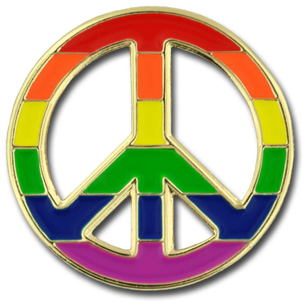 PinMart's Peace Sign Gay Pride Rainbow LGBT Enamel Lapel Pin