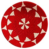 Rwanda 10th Anniversary Large 16-in Star Woven Fruit Bowl, Red and White