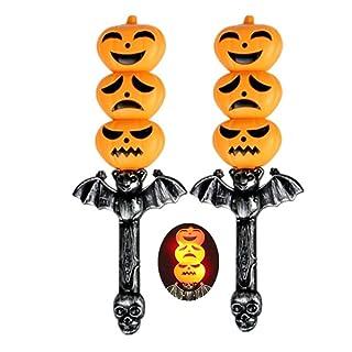 BESTOYARD 2pcs Halloween agitazione bastone incandescente mano zucca bastoni Light-Up suono luminoso prop giocattoli Halloween spaventoso atmosfera puntelli decorazione per Halloween rifornimento del partito favori