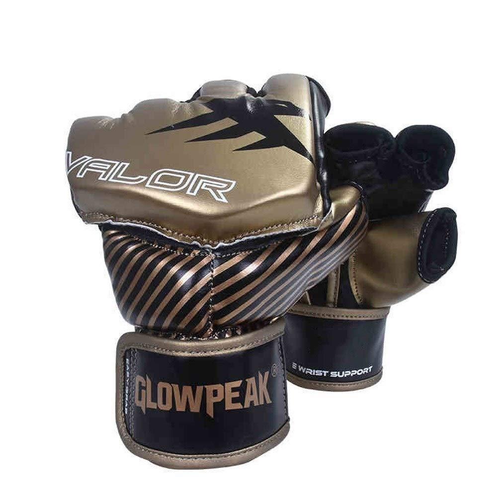 Agelec Adult Unisex Free Fight Muay Thai Taekwondo Sanda Boxing Mitten Half Finger Gloves Wear Palm Opening Breathable Boxing Gloves (Color : Black, Size : M)