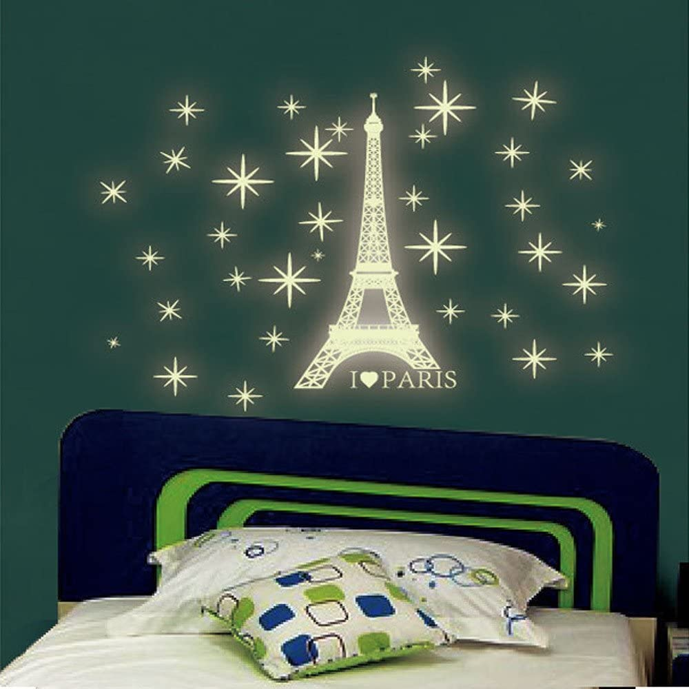Amazon Com Glow In The Dark Paris Tower Wall Decals E Scenery