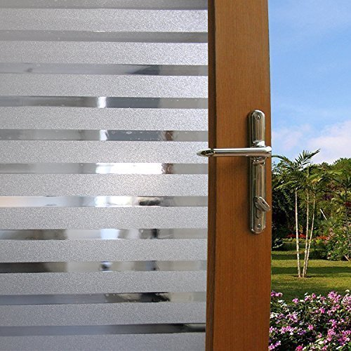 Becry Vinyl Static Cling White Forst Stripe Decorative Home Office Front  Door Translucent Glass Window Film Clings Covering,17.7 By 78.7 Inches(45 X  200CM)