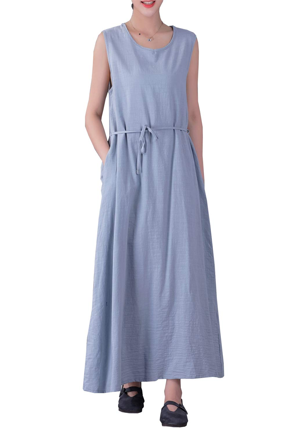 YUHEYUHE Women's Casual Loose Plus Size Summer Sundress Sleeveless Soft Long Maxi Cotton Linen Dress