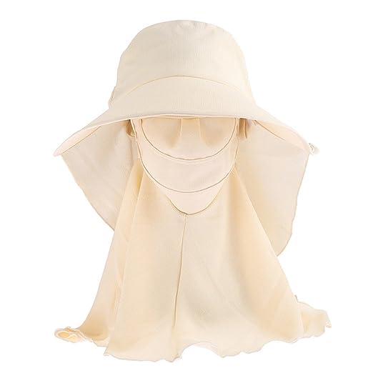 0ffe3e004d63c FUNY Summer Outdoor Sun Protection Wide Brim Cap Neck Face Flap Fishing  Farmer Gardener Hat (