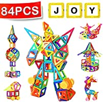 Distianert Mini Magnetic Building Blocks 84pcs Magnetic Tiles Set Creative and Educational Toys for Toddlers/Kids with Storage Bag