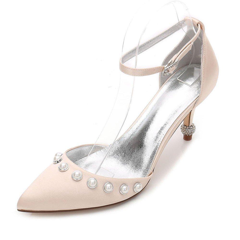Zxstz Damen Satin Heels Damen Hochzeit Braut Brautjungfer Abend Party Prom Slip auf naher Zehe Klassische Schuhe Pumpe