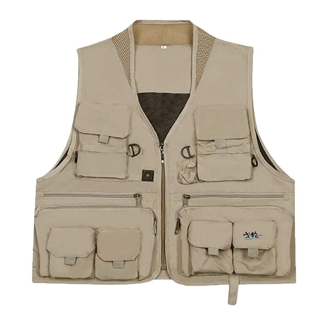 ARTFFEL Men Breathable Multi Pockets Outdoor Versatile Casual Vest