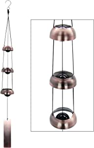 ASTARIN Temple Wind Chime, Red Copper Wind Chimes with 3 Bells, Feng Shui Wind Chimes for Home Yard Outdoor Decoration, A Great Memorial Wind Chime for Someone Who Loves Peace