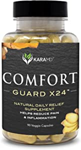 KaraMD Comfort Guard X24 |Doctor Formulated Inflammation, Joint & Pain Supplement for Men & Women |Natural Non-GMO & Vegan Pain Support & Relief | 95% Curcuminoids, Boswellia & Ginger, 90 Capsules