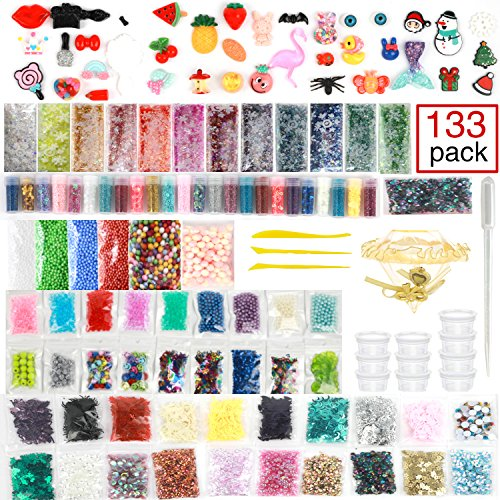 Slime Supplies kit, 133 Pack Slime Kits Include Fishbowl Beads, Pearl, Floam Beads, Glitter Jars, Confetti, Slime Charms, Slime Tools, Slime Containers, DIY Art Craft for Homemade Slime -